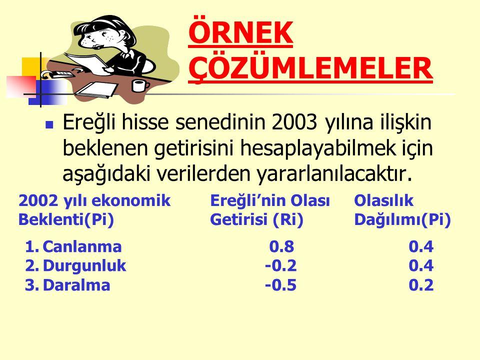 Bu veriler doğrultusunda Ereğli'nin 2003 yılına ilişkin beklenen getirisi Ereğli hisse senetlerinin riskliliğini yani varyansını hesaplarsak Ereğli hisse senetlerinin standart sapması yani varyansın karekökü 0.55 olacaktır.
