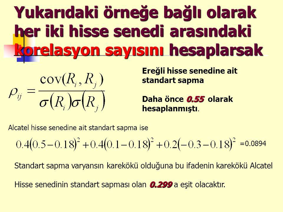 Beklenen fayda fonksiyonu U(r) =Beklenen Fayda E(r) =Beklenen Getiri = riski gösteren katsayı standart sapma