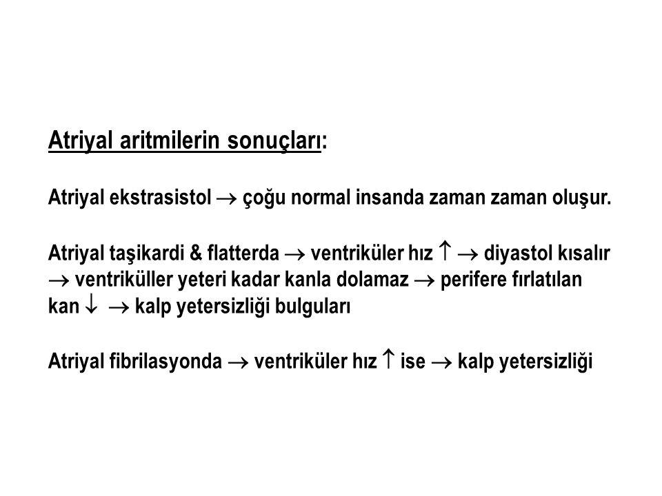 Atriyal aritmilerin sonuçları: Atriyal ekstrasistol  çoğu normal insanda zaman zaman oluşur. Atriyal taşikardi & flatterda  ventriküler hız   diya
