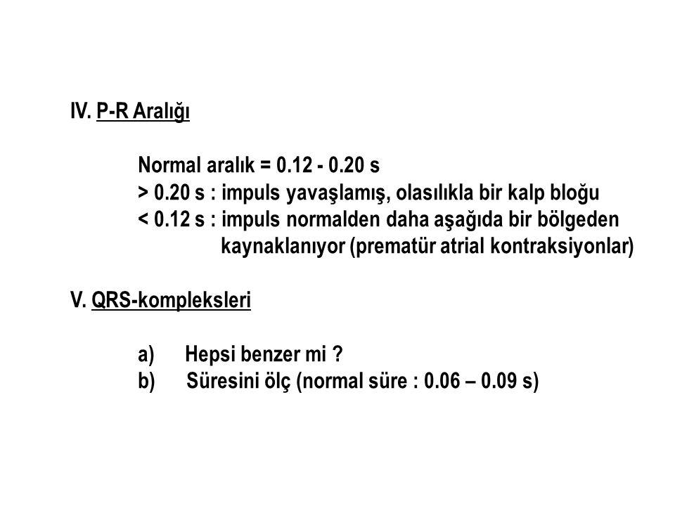 IV. P-R Aralığı Normal aralık = 0.12 - 0.20 s > 0.20 s : impuls yavaşlamış, olasılıkla bir kalp bloğu < 0.12 s : impuls normalden daha aşağıda bir böl