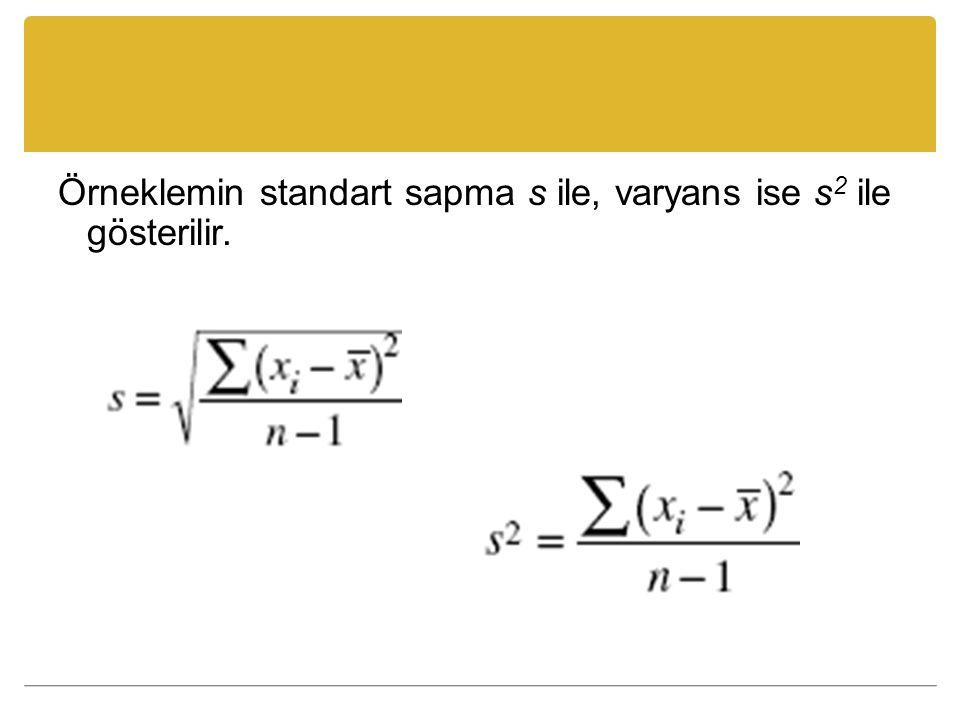 Örneklemin standart sapma s ile, varyans ise s 2 ile gösterilir.