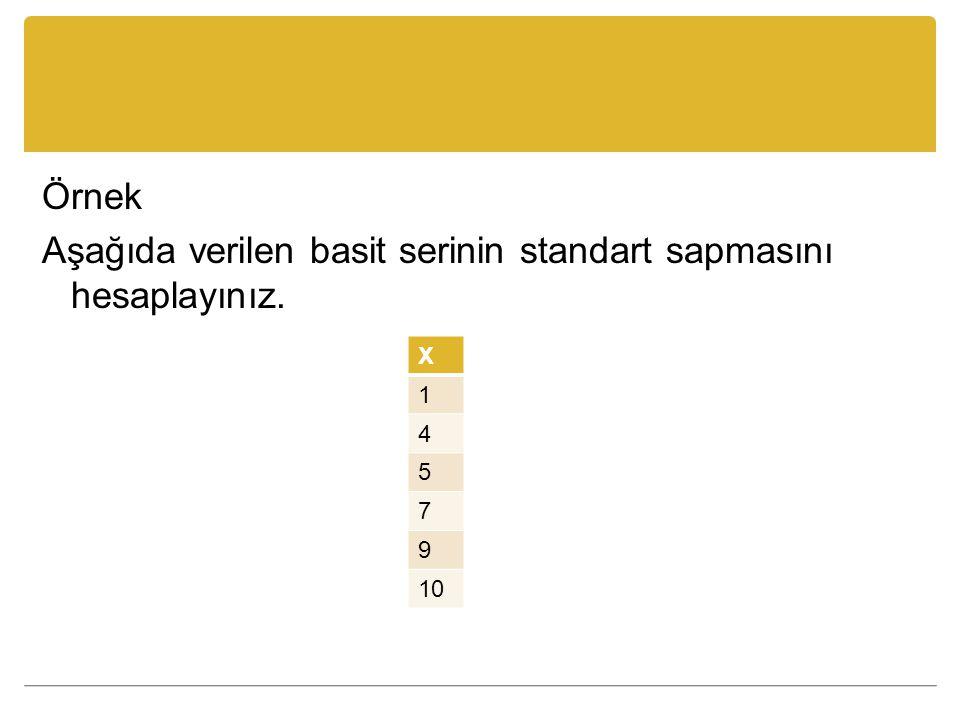 Örnek Aşağıda verilen basit serinin standart sapmasını hesaplayınız. X 1 4 5 7 9 10