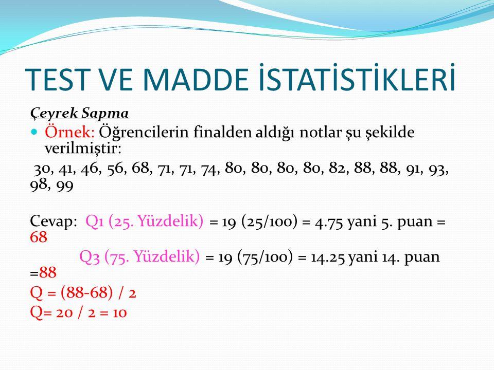 50 Cevap: X = (30+40+50+60+70) / 5 = (250/5) = 50 S = 30-50 = 20 (-20) 2 = 400s=√1000/5 40-50 = 10 (10) 2 = 100s= √200 14.14 50-50 = 0 (0) 2 = 0 s= 14.14 60-50 = -10 (-10) 2 = 100 70-50 = 20 (20) 2 = 400 + 1000 Örnek: Öğrencilerin finalden aldığı notlar şu şekilde verilmiştir: 30, 40, 50, 60, 70 Sınıfın aritmetik ortalaması ve standart sapması kaçtır?