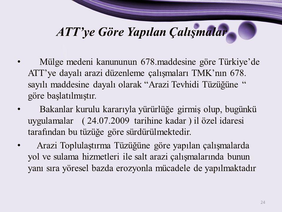ATT'ye Göre Yapılan Çalışmalar Mülge medeni kanununun 678.maddesine göre Türkiye'de ATT'ye dayalı arazi düzenleme çalışmaları TMK'nın 678. sayılı madd