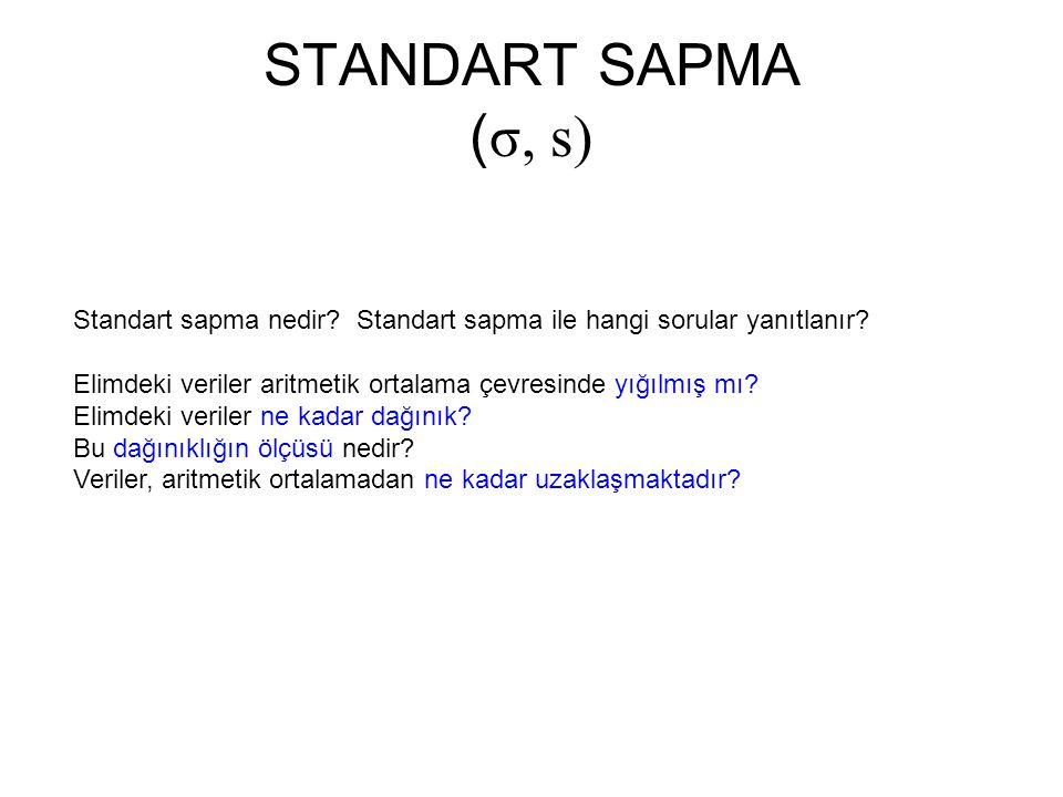 Standart sapma nedir? Standart sapma ile hangi sorular yanıtlanır? Elimdeki veriler aritmetik ortalama çevresinde yığılmış mı? Elimdeki veriler ne kad