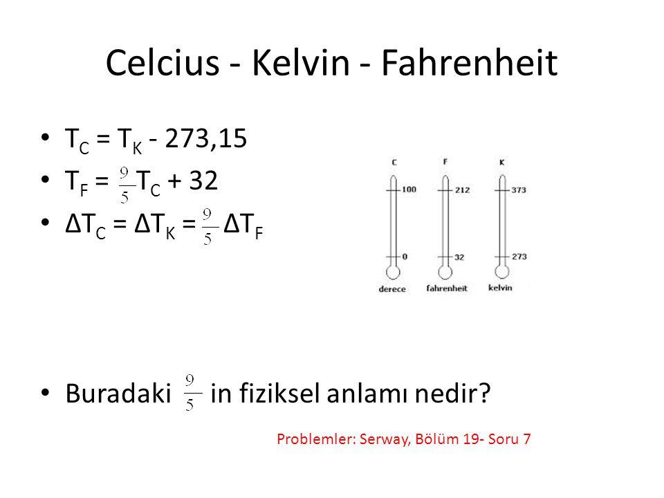 Celcius - Kelvin - Fahrenheit T C = T K - 273,15 T F = T C + 32 ΔT C = ΔT K = ΔT F Buradaki in fiziksel anlamı nedir? Problemler: Serway, Bölüm 19- So