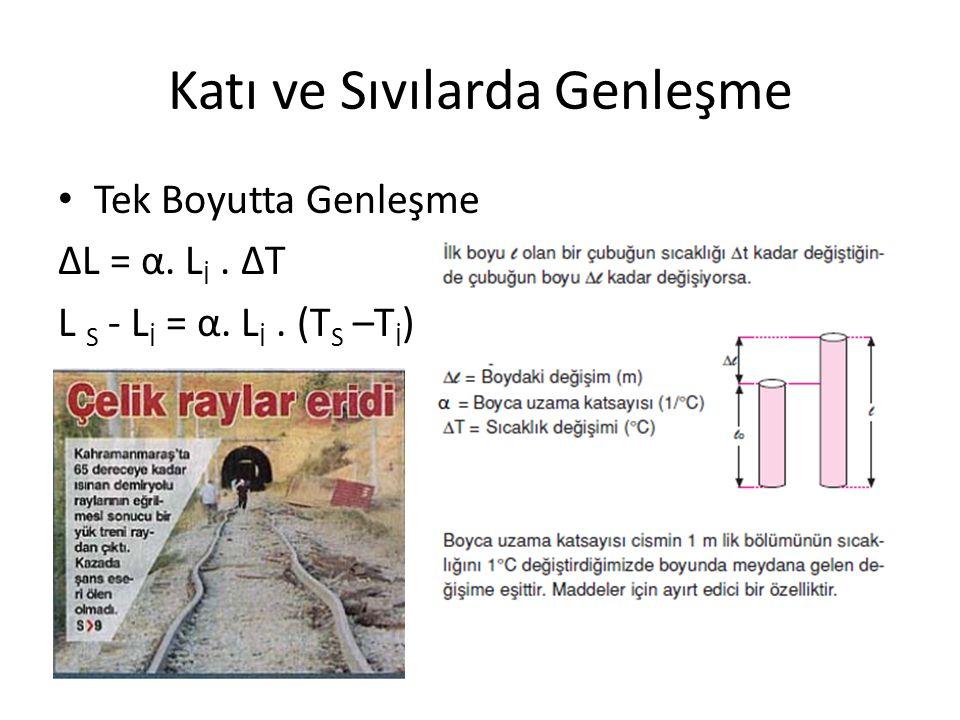 Katı ve Sıvılarda Genleşme Tek Boyutta Genleşme ΔL = α. L İ. ΔT L S - L İ = α. L İ. (T S –T İ )