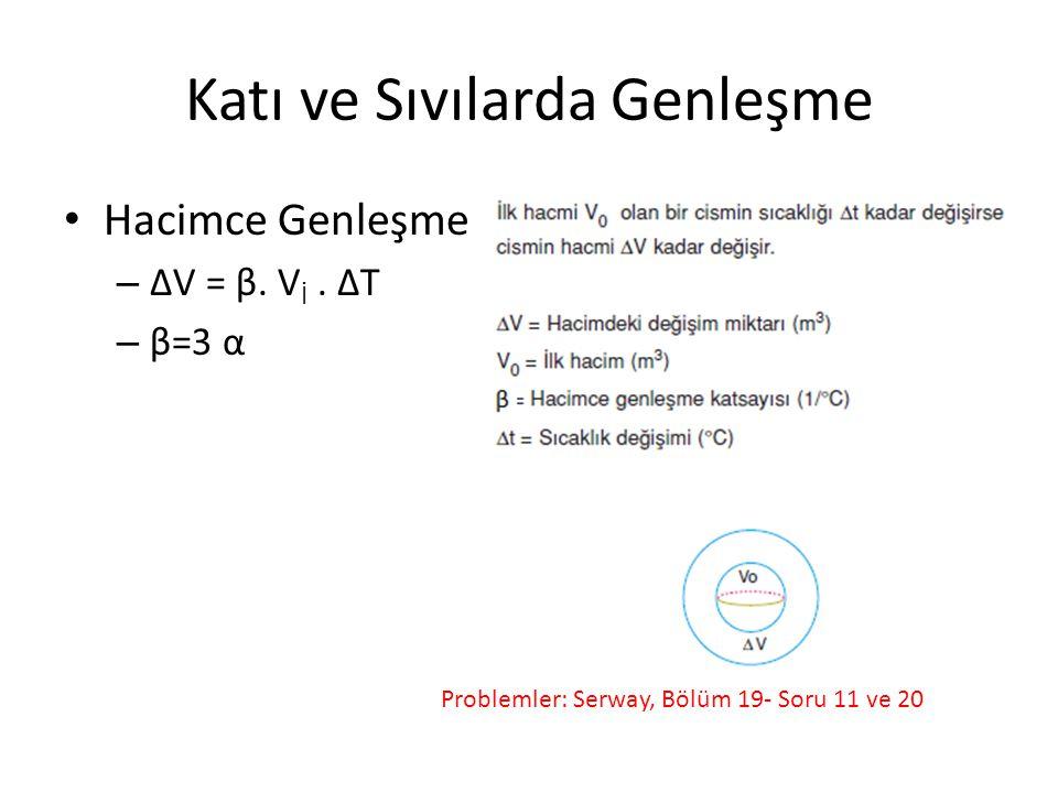 Katı ve Sıvılarda Genleşme Hacimce Genleşme – ΔV = β. V İ. ΔT – β=3 α Problemler: Serway, Bölüm 19- Soru 11 ve 20