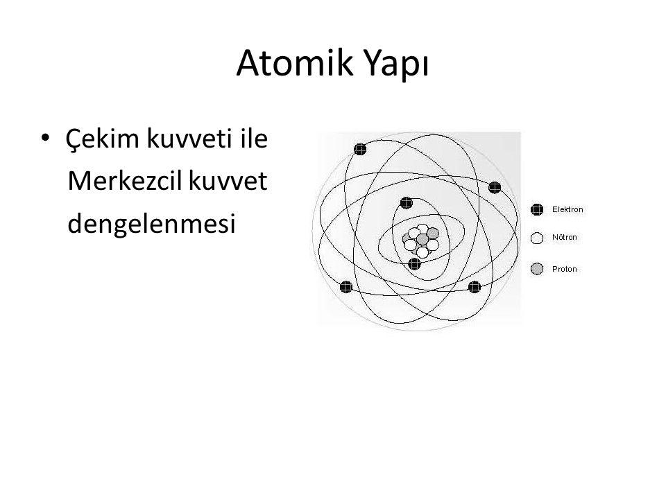 Atomik Yapı Çekim kuvveti ile Merkezcil kuvvet dengelenmesi
