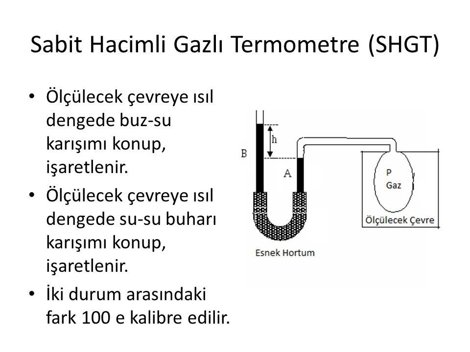 Sabit Hacimli Gazlı Termometre (SHGT) Ölçülecek çevreye ısıl dengede buz-su karışımı konup, işaretlenir. Ölçülecek çevreye ısıl dengede su-su buharı k