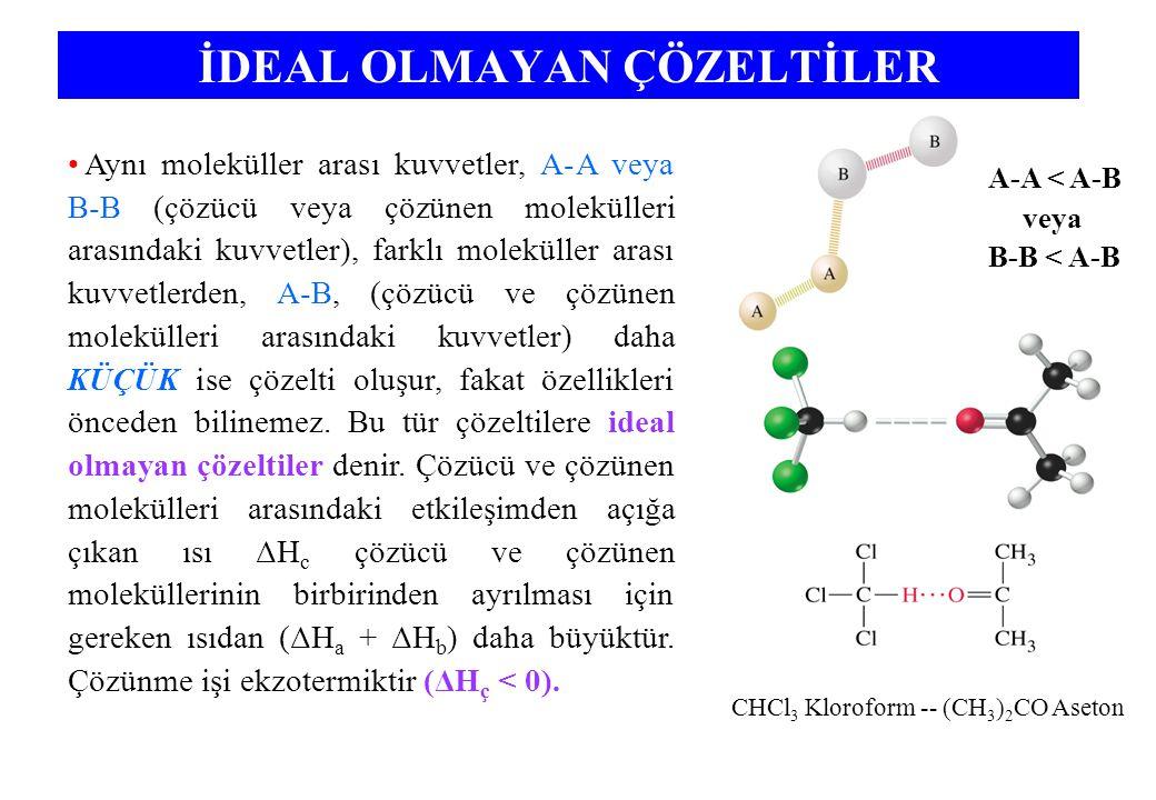 İDEAL OLMAYAN ÇÖZELTİLER Aynı moleküller arası kuvvetler, A-A veya B-B (çözücü veya çözünen molekülleri arasındaki kuvvetler), farklı moleküller arası kuvvetlerden, A-B, (çözücü ve çözünen molekülleri arasındaki kuvvetler) daha KÜÇÜK ise çözelti oluşur, fakat özellikleri önceden bilinemez.