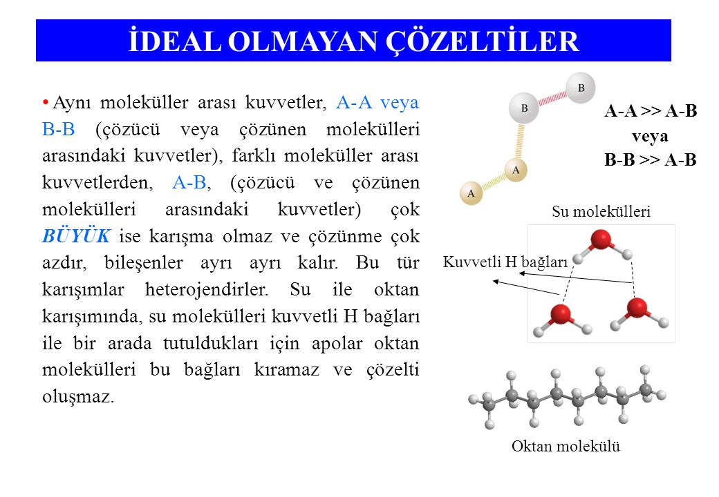 Aynı moleküller arası kuvvetler, A-A veya B-B (çözücü veya çözünen molekülleri arasındaki kuvvetler), farklı moleküller arası kuvvetlerden, A-B, (çözücü ve çözünen molekülleri arasındaki kuvvetler) çok BÜYÜK ise karışma olmaz ve çözünme çok azdır, bileşenler ayrı ayrı kalır.