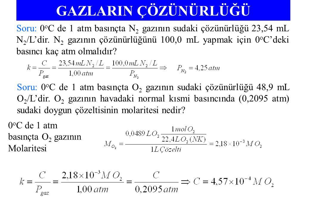 GAZLARIN ÇÖZÜNÜRLÜĞÜ Soru: 0 o C de 1 atm basınçta N 2 gazının sudaki çözünürlüğü 23,54 mL N 2 /L'dir.