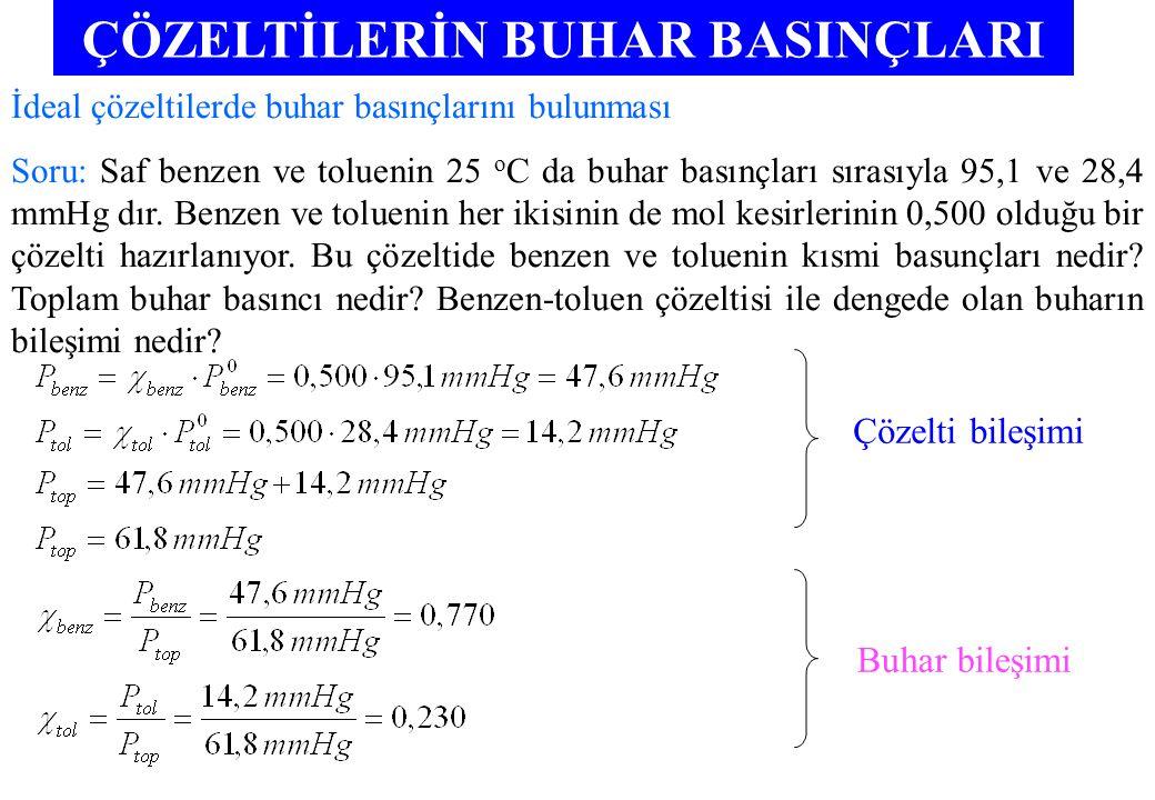 ÇÖZELTİLERİN BUHAR BASINÇLARI İdeal çözeltilerde buhar basınçlarını bulunması Soru: Saf benzen ve toluenin 25 o C da buhar basınçları sırasıyla 95,1 ve 28,4 mmHg dır.