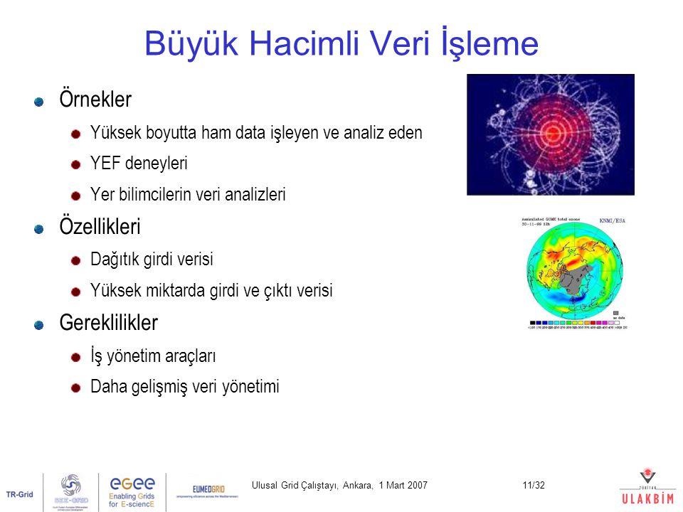 Ulusal Grid Çalıştayı, Ankara, 1 Mart 200711/32 Büyük Hacimli Veri İşleme Örnekler Yüksek boyutta ham data işleyen ve analiz eden YEF deneyleri Yer bilimcilerin veri analizleri Özellikleri Dağıtık girdi verisi Yüksek miktarda girdi ve çıktı verisi Gereklilikler İş yönetim araçları Daha gelişmiş veri yönetimi