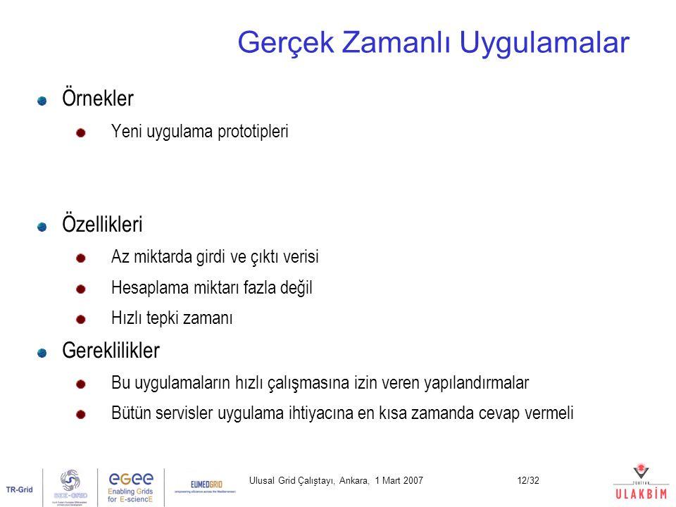 Ulusal Grid Çalıştayı, Ankara, 1 Mart 200712/32 Gerçek Zamanlı Uygulamalar Örnekler Yeni uygulama prototipleri Özellikleri Az miktarda girdi ve çıktı verisi Hesaplama miktarı fazla değil Hızlı tepki zamanı Gereklilikler Bu uygulamaların hızlı çalışmasına izin veren yapılandırmalar Bütün servisler uygulama ihtiyacına en kısa zamanda cevap vermeli