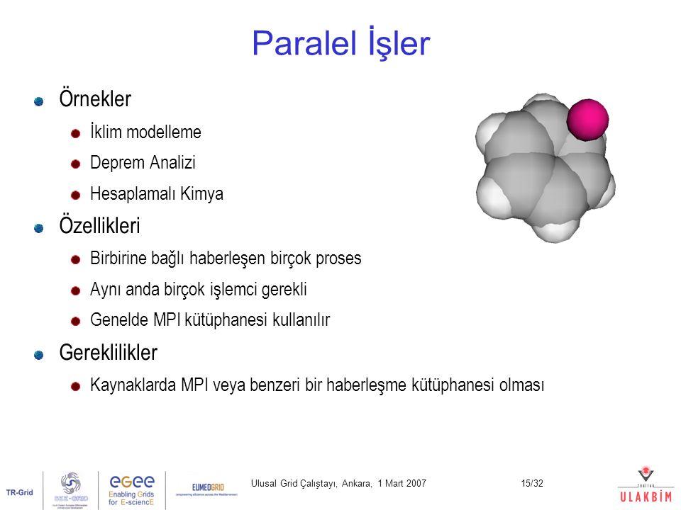 Ulusal Grid Çalıştayı, Ankara, 1 Mart 200715/32 Paralel İşler Örnekler İklim modelleme Deprem Analizi Hesaplamalı Kimya Özellikleri Birbirine bağlı haberleşen birçok proses Aynı anda birçok işlemci gerekli Genelde MPI kütüphanesi kullanılır Gereklilikler Kaynaklarda MPI veya benzeri bir haberleşme kütüphanesi olması