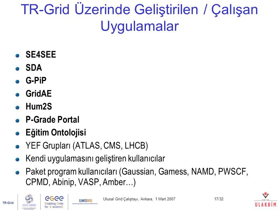 Ulusal Grid Çalıştayı, Ankara, 1 Mart 200717/32 SE4SEE SDA G-PiP GridAE Hum2S P-Grade Portal Eğitim Ontolojisi YEF Grupları (ATLAS, CMS, LHCB) Kendi uygulamasını geliştiren kullanıcılar Paket program kullanıcıları (Gaussian, Gamess, NAMD, PWSCF, CPMD, Abinip, VASP, Amber…) TR-Grid Üzerinde Geliştirilen / Çalışan Uygulamalar