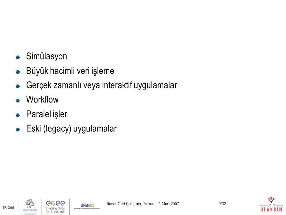 Ulusal Grid Çalıştayı, Ankara, 1 Mart 20079/32 Simülasyon Büyük hacimli veri işleme Gerçek zamanlı veya interaktif uygulamalar Workflow Paralel işler Eski (legacy) uygulamalar