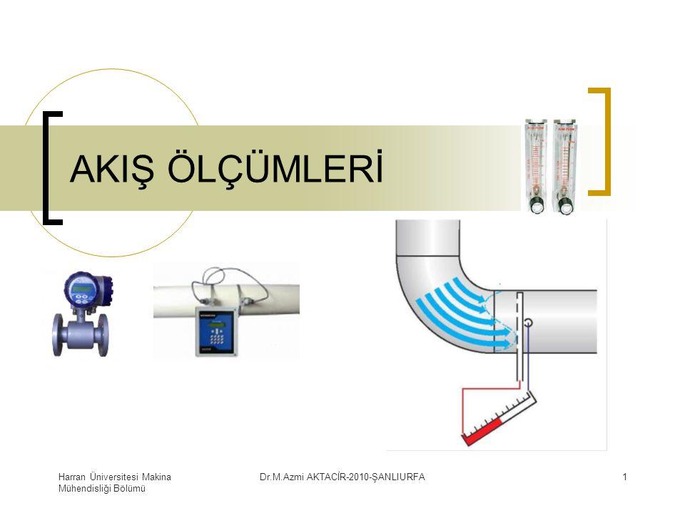 Harran Üniversitesi Makina Mühendisliği Bölümü Dr.M.Azmi AKTACİR-2010-ŞANLIURFA12 Kapalı Kanallarda debi ölçme yöntemi Kapalı kanallarda kesit daralması oluşturularak, akışta meydana gelen basınç farkının ölçülmesi ile akışkanın debisi ölçülür.