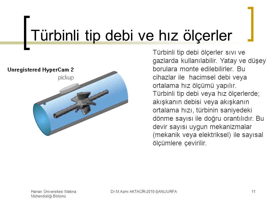 Harran Üniversitesi Makina Mühendisliği Bölümü Dr.M.Azmi AKTACİR-2010-ŞANLIURFA11 Türbinli tip debi ve hız ölçerler Türbinli tip debi ölçerler sıvı ve gazlarda kullanılabilir.