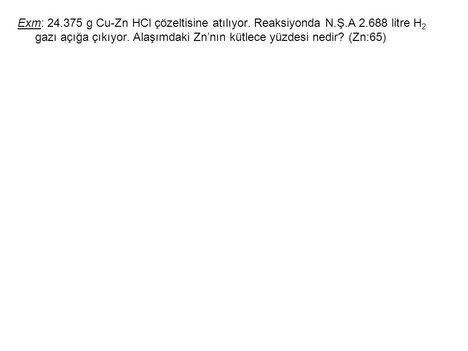 Exm: 24.375 g Cu-Zn HCl çözeltisine atılıyor. Reaksiyonda N.Ş.A 2.688 litre H 2 gazı açığa çıkıyor. Alaşımdaki Zn'nın kütlece yüzdesi nedir? (Zn:65)