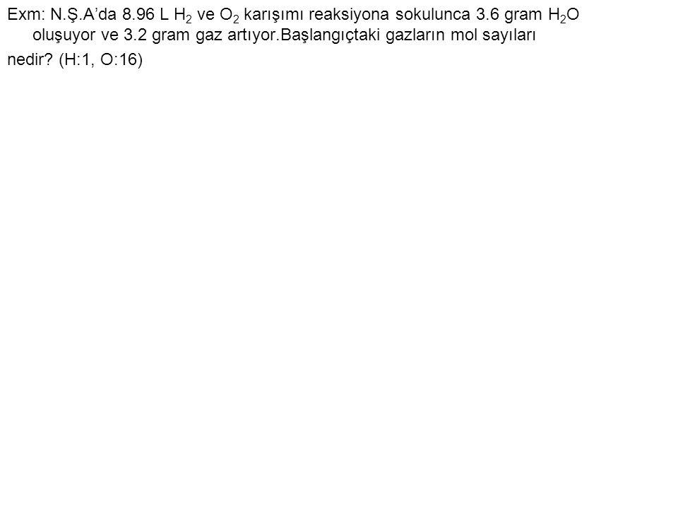 Exm: N.Ş.A'da 8.96 L H 2 ve O 2 karışımı reaksiyona sokulunca 3.6 gram H 2 O oluşuyor ve 3.2 gram gaz artıyor.Başlangıçtaki gazların mol sayıları nedi