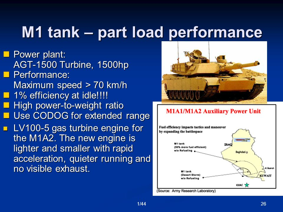 261/44 M1 tank – part load performance Power plant: AGT-1500 Turbine, 1500hp Power plant: AGT-1500 Turbine, 1500hp Performance: Maximum speed > 70 km/