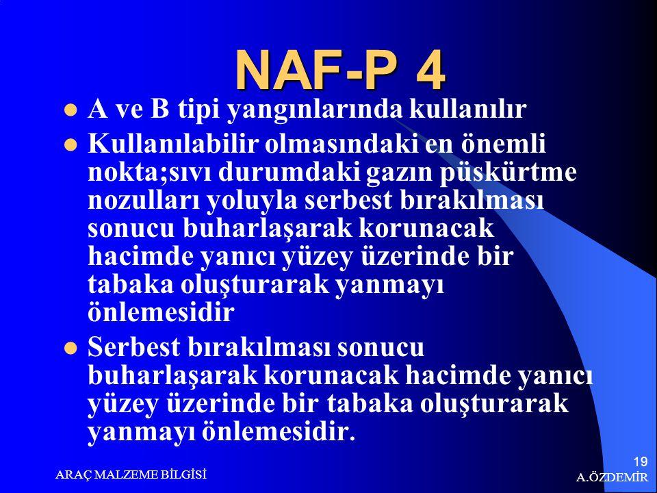 A.ÖZDEMİR ARAÇ MALZEME BİLGİSİ 18 NAF-S 3 A ve B tipi yangınlarında kullanılır Serbest bırakılması sonucu buharlaşarak korunacak hacimde yanıcı yüzey üzerinde bir tabaka oluşturarak yanmayı önlemesidir.
