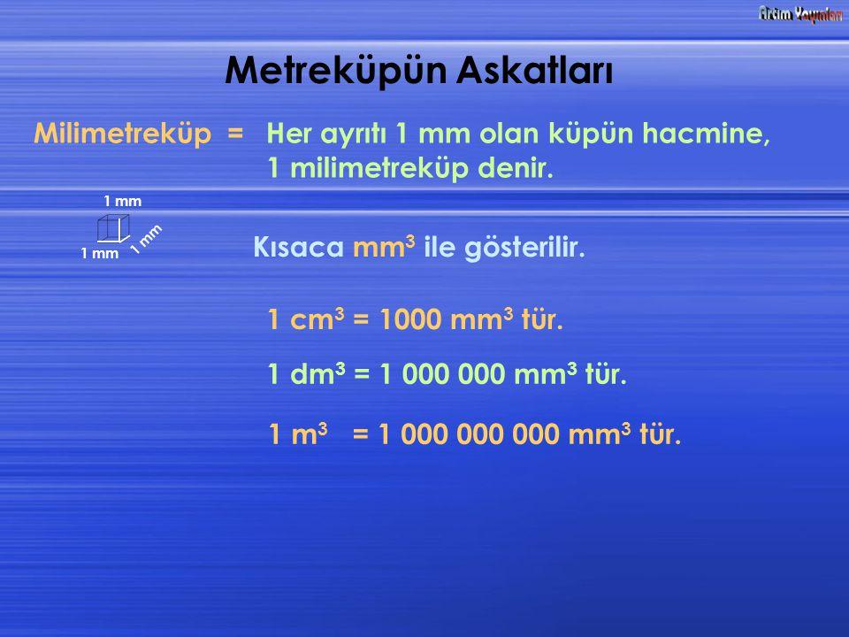 Metreküpün Askatları Milimetreküp =Her ayrıtı 1 mm olan küpün hacmine, 1 milimetreküp denir. Kısaca mm 3 ile gösterilir. 1 mm 1 mm 1 m m 1 cm 3 = 1000