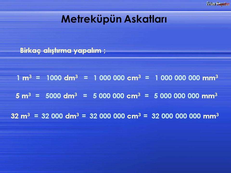 Birkaç alıştırma yapalım ; 1 m 3 =1000 dm 3 =1 000 000 cm 3 =1 000 000 000 mm 3 5 m 3 =5000 dm 3 =5 000 000 cm 3 =5 000 000 000 mm 3 32 m 3 =32 000 dm