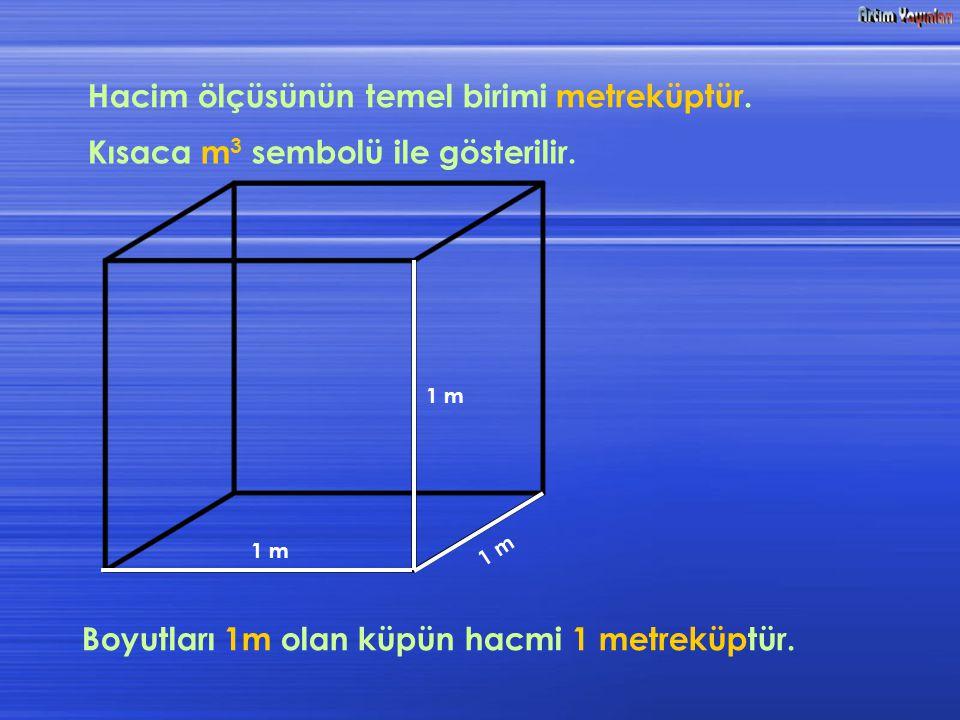 Hacim ölçüsünün temel birimi metreküptür. Kısaca m 3 sembolü ile gösterilir. Boyutları 1m olan küpün hacmi 1 metreküptür. 1 m 1 m 1 m