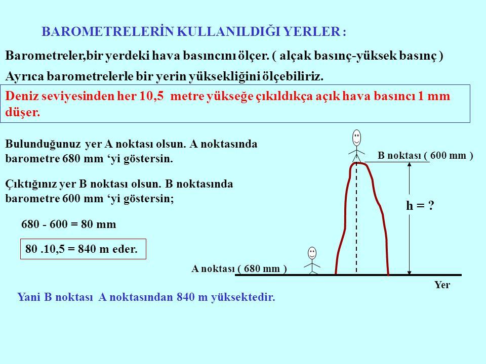 BAROMETRELERİN KULLANILDIĞI YERLER : Barometreler,bir yerdeki hava basıncını ölçer. ( alçak basınç-yüksek basınç ) Ayrıca barometrelerle bir yerin yük