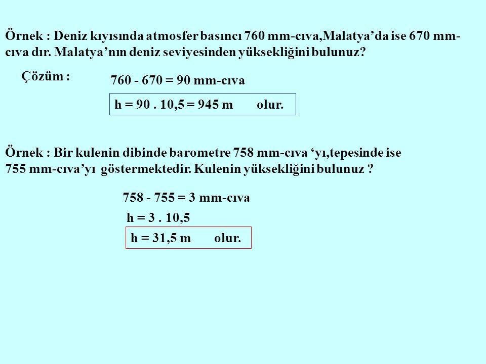 Örnek : Deniz kıyısında atmosfer basıncı 760 mm-cıva,Malatya'da ise 670 mm- cıva dır. Malatya'nın deniz seviyesinden yüksekliğini bulunuz? Çözüm : 760