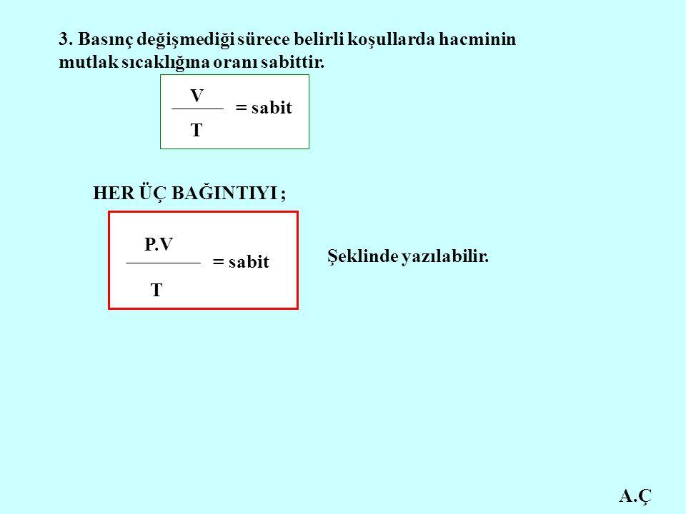 A.Ç 3. Basınç değişmediği sürece belirli koşullarda hacminin mutlak sıcaklığına oranı sabittir. V T = sabit HER ÜÇ BAĞINTIYI ; P.V T = sabit Şeklinde