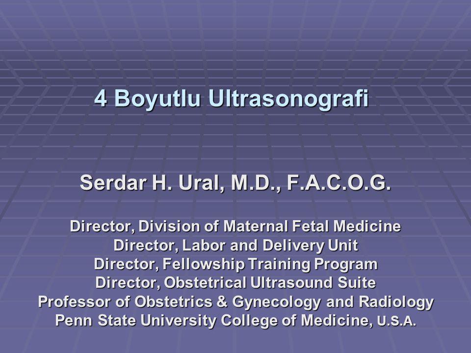 4 Boyutlu Ultrasonografi Serdar H. Ural, M.D., F.A.C.O.G. Director, Division of Maternal Fetal Medicine Director, Labor and Delivery Unit Director, Fe