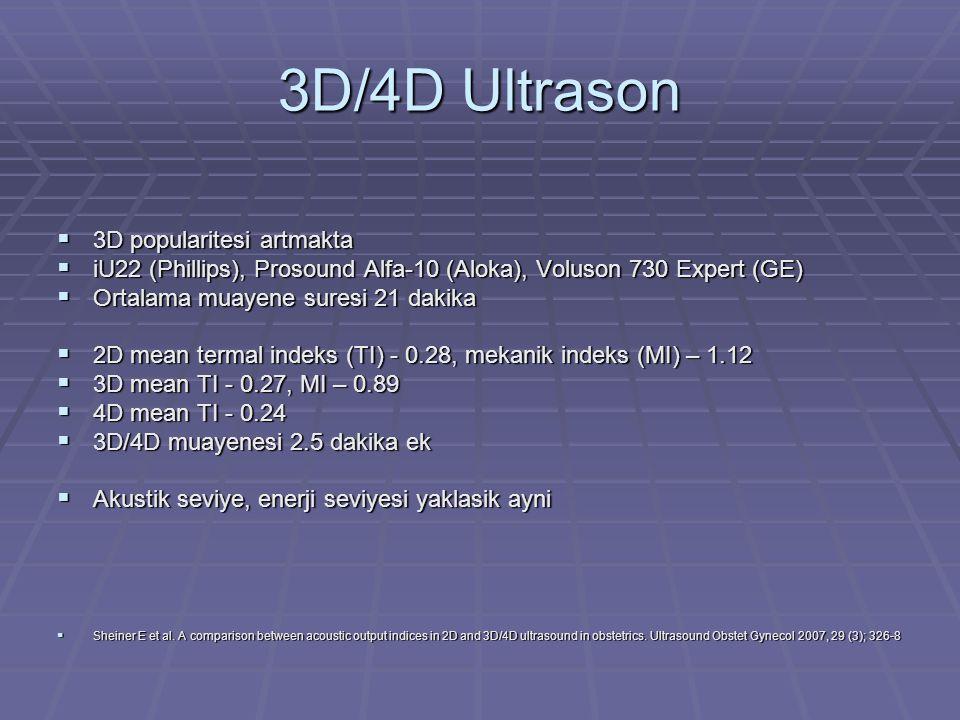 3D/4D Ultrason  3D popularitesi artmakta  iU22 (Phillips), Prosound Alfa-10 (Aloka), Voluson 730 Expert (GE)  Ortalama muayene suresi 21 dakika  2