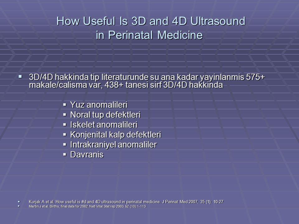 4D Ultrason  Prenatal invaziv tani ve tedavisi icin 4D, 93 fetus  Amniosentez, amnioinfuzyon, CVS, kordosentez  Prosedur mean 5 dakika, %100 basari  Oligohidramniyoz, ince plasenta, ince kord  Zaman, komplikasyon riski daha dusuk  Kim S et al.