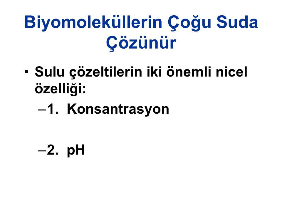 Biyomoleküllerin Çoğu Suda Çözünür Sulu çözeltilerin iki önemli nicel özelliği: –1. Konsantrasyon –2. pH