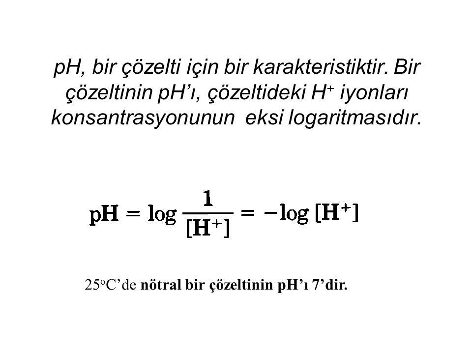 pH, bir çözelti için bir karakteristiktir. Bir çözeltinin pH'ı, çözeltideki H + iyonları konsantrasyonunun eksi logaritmasıdır. 25 o C'de nötral bir ç