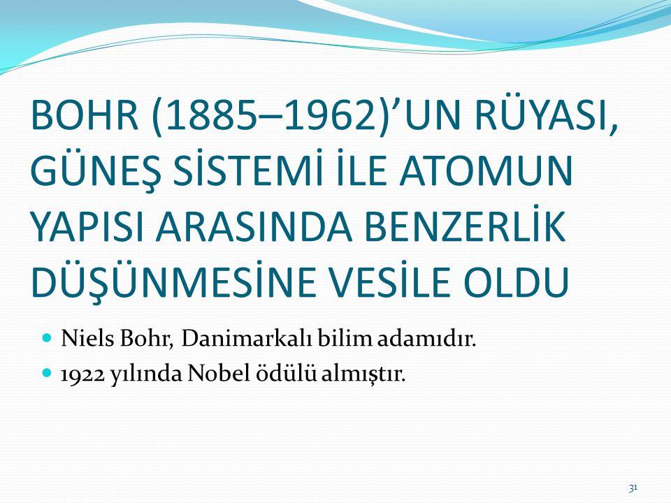 BOHR (1885–1962)'UN RÜYASI, GÜNEŞ SİSTEMİ İLE ATOMUN YAPISI ARASINDA BENZERLİK DÜŞÜNMESİNE VESİLE OLDU Niels Bohr, Danimarkalı bilim adamıdır. 1922 yı
