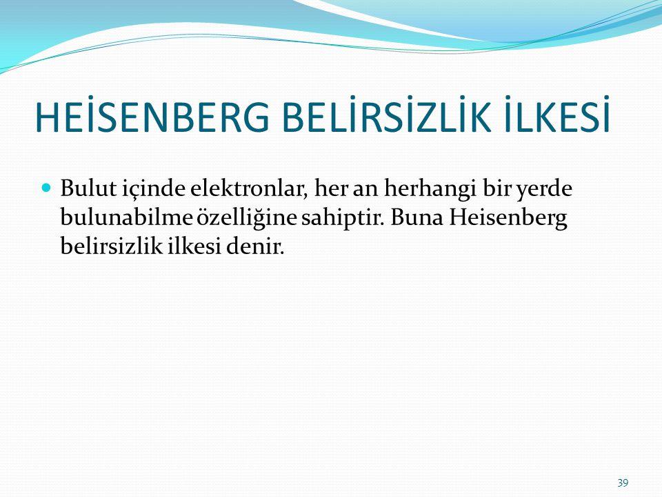 HEİSENBERG BELİRSİZLİK İLKESİ Bulut içinde elektronlar, her an herhangi bir yerde bulunabilme özelliğine sahiptir. Buna Heisenberg belirsizlik ilkesi