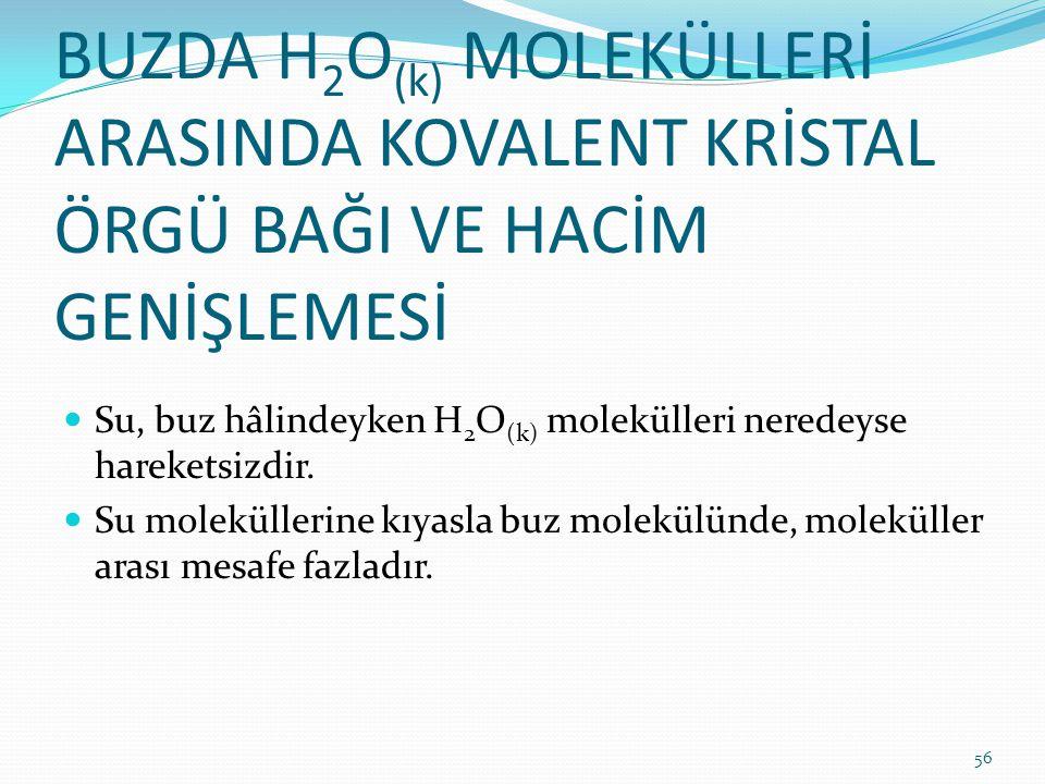 BUZDA H 2 O (k) MOLEKÜLLERİ ARASINDA KOVALENT KRİSTAL ÖRGÜ BAĞI VE HACİM GENİŞLEMESİ Su, buz hâlindeyken H 2 O (k) molekülleri neredeyse hareketsizdir