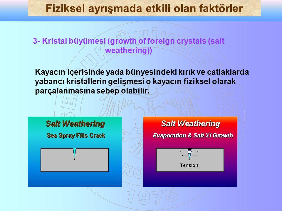 3- Kristal büyümesi (growth of foreign crystals (salt weathering)) Kayacın içerisinde yada bünyesindeki kırık ve çatlaklarda yabancı kristallerin geli