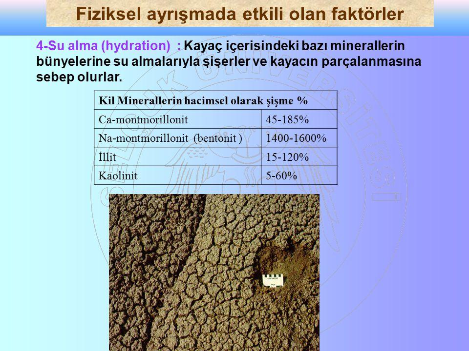 4-Su alma (hydration) : Kayaç içerisindeki bazı minerallerin bünyelerine su almalarıyla şişerler ve kayacın parçalanmasına sebep olurlar. Kil Minerall