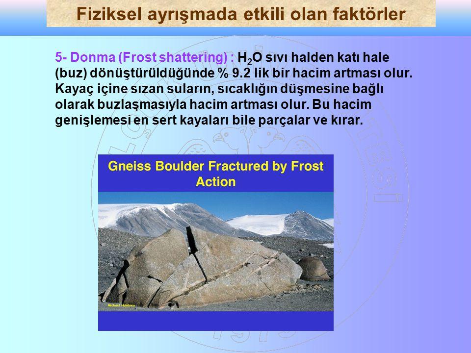 5- Donma (Frost shattering) : H 2 O sıvı halden katı hale (buz) dönüştürüldüğünde % 9.2 lik bir hacim artması olur. Kayaç içine sızan suların, sıcaklı