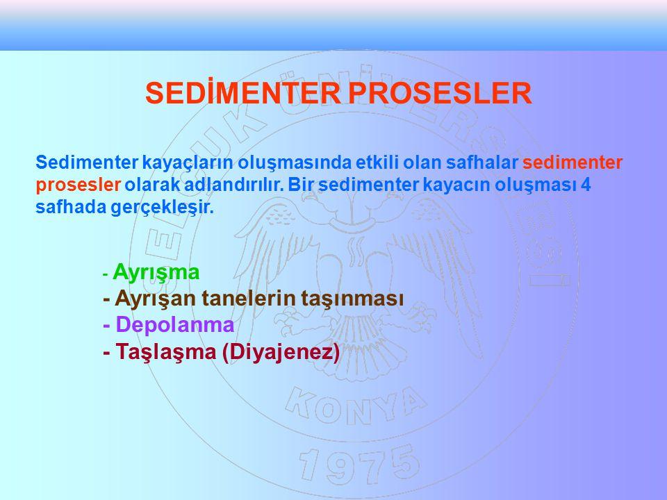 SEDİMENTER PROSESLER Sedimenter kayaçların oluşmasında etkili olan safhalar sedimenter prosesler olarak adlandırılır. Bir sedimenter kayacın oluşması
