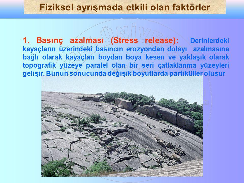 1. Basınç azalması (Stress release): Derinlerdeki kayaçların üzerindeki basıncın erozyondan dolayı azalmasına bağlı olarak kayaçları boydan boya kesen