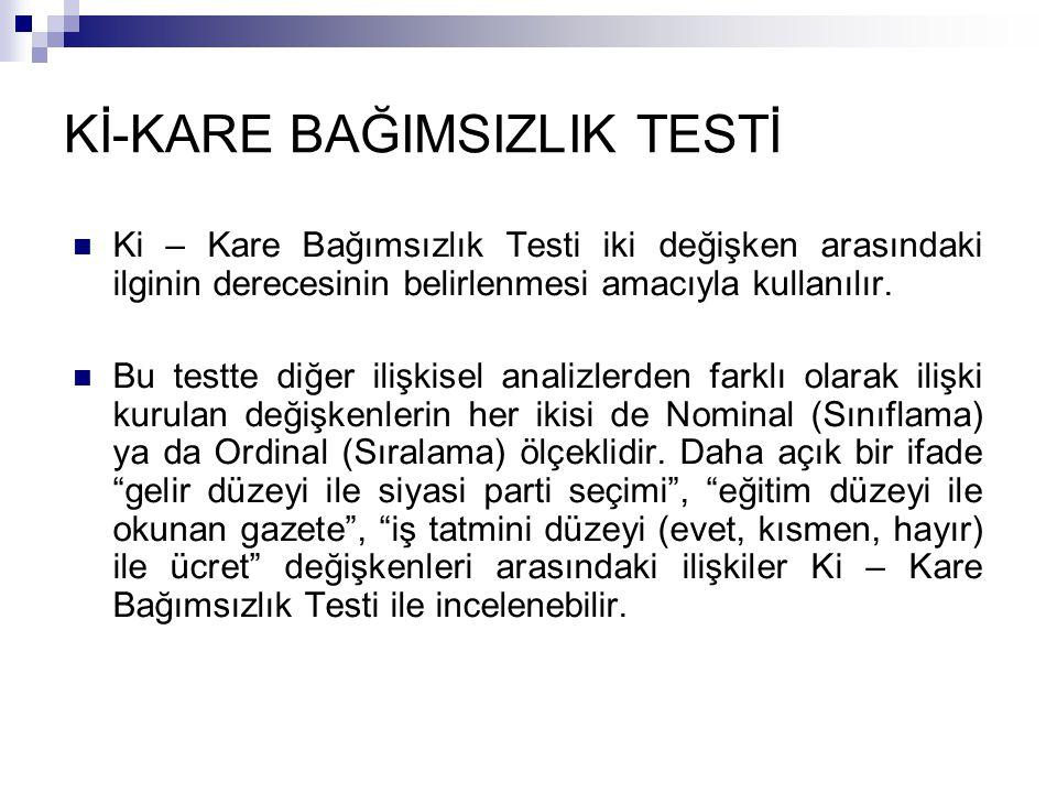 Ki – Kare Bağımsızlık Testi iki değişken arasındaki ilginin derecesinin belirlenmesi amacıyla kullanılır. Bu testte diğer ilişkisel analizlerden farkl