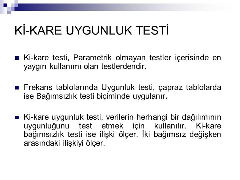 Kİ-KARE UYGUNLUK TESTİ Ki-kare testi, Parametrik olmayan testler içerisinde en yaygın kullanımı olan testlerdendir. Frekans tablolarında Uygunluk test